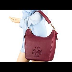 Tory Burch Deep Merlot Leather Harper Zip Hobo Bag